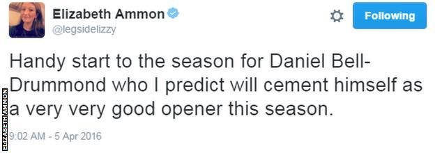 Daniel Bell-Drummond Tweet