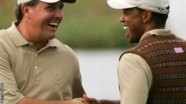 Phil Mickelson and Tiger Woods at the 2006 Ryder Cup