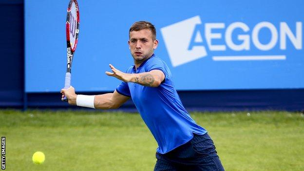 Dan Evans in action at the Aegon Open