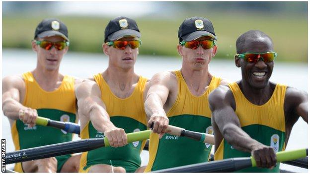 South Africa's 2012 fours team in action during London Olympics