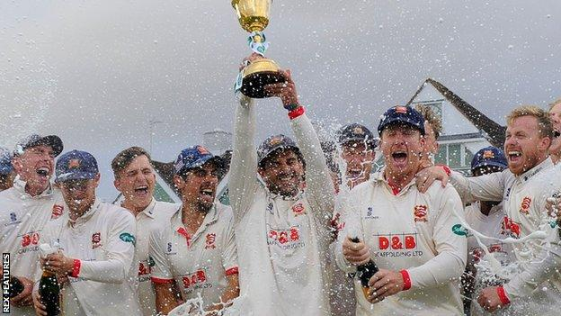 Essex won the title when the County Championship was last played in 2019
