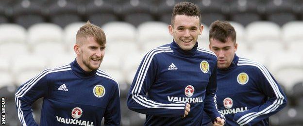 John McGinn in training with Scotland U21s