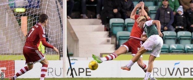Jason Cummings scores for Hibernian against Aberdeen