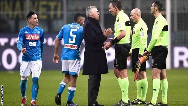 Napoli boss Carlo Ancelotti confronts Italian officials