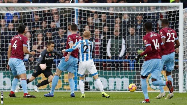 Alex Pritchard scores for Huddersfield against West Ham