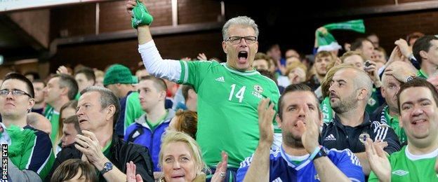 Northern Ireland fans celebrate Kyle Lafferty's late goal