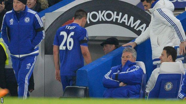 Chelsea skipper John Terry leaves the pitch against Newcastle after suffering an injury