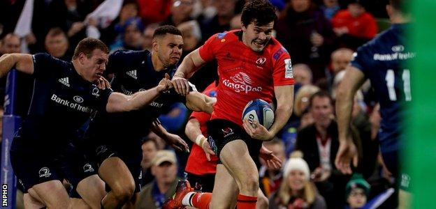 Ulster's Jacob Stockdale in action against Leinster during their European Champions Cup quarter-final