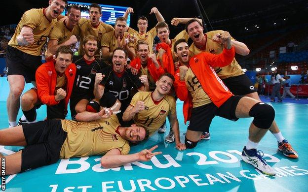 Germany celebrate winning the volleyball at the 2015 European Games