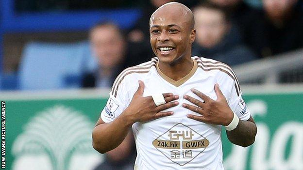 Andre Ayew playing for Swansea