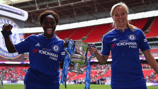 Eni Aluko and Gemma Davison with the Women's FA Cup