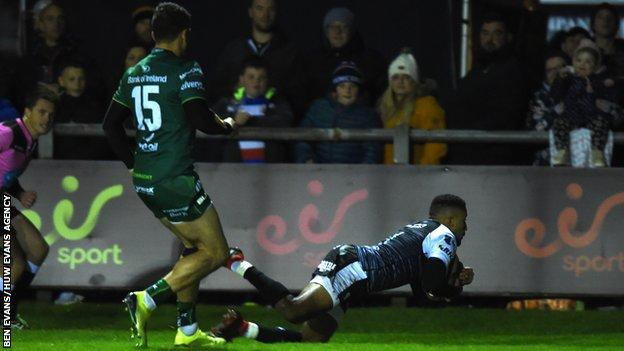 Ospreys wing Keelan Giles scored two tries to show he is getting back to his best after long-term injury