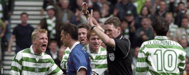 Hugh Dallas rejected a Celtic penalty claim against Rangers
