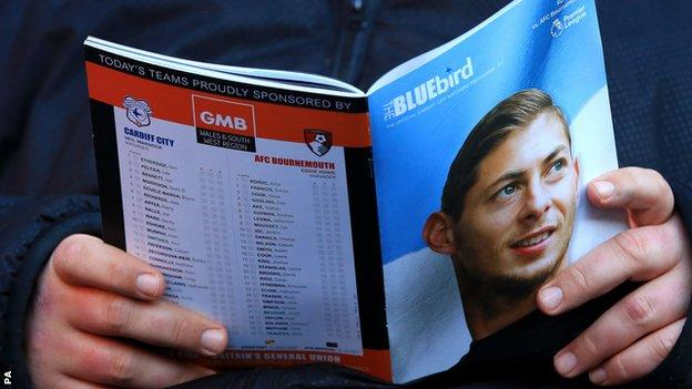 Sala's face was on the front of the match programme