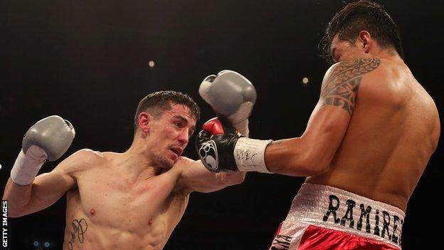 Anthony Crolla punches Edson Ramirez during their Lightweight fight at Principality Stadium on March 31, 2018 in Cardiff, Wales.