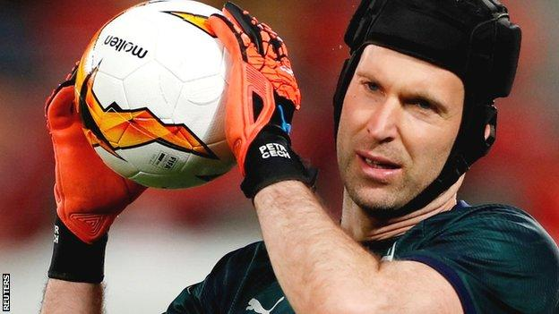 Petr Cech in goal for Arsenal
