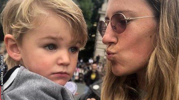 Victoria Azarenka kisses her son Leo