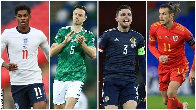 England's Marcus Rashford, Northern Ireland's Jonny Evans, Scotland's Andy Robertson and Wales' Gareth Bale