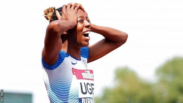 Lorraine Ugen reacts after setting a Championship record of 7.05m in the women's long jump at the British Championships