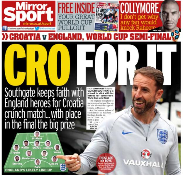 The Mirror claims England will be unchanged against Croatia