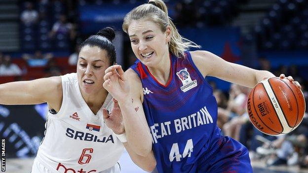 Karlie Samuelson (right) of Great Britain in action against Sasa Cado (left) of Serbia