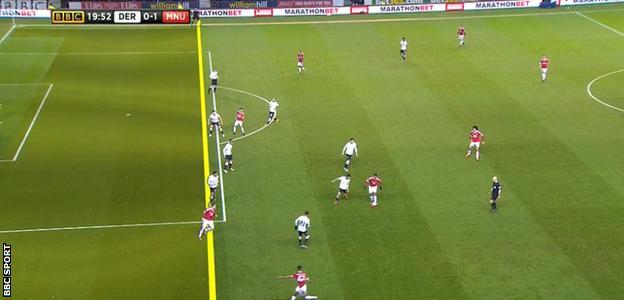 Wayne Rooney appears offside