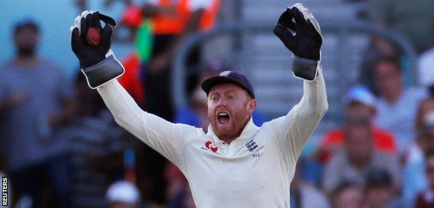 England wicketkeeper Jonny Bairstow appeals after catching Australia's Pat Cummins in the final Ashes Test at The Oval