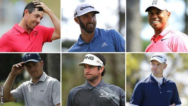 Rory McIlory, Dustin Johnson, Tiger Woods, Jordan Spieth, Bubba Watson and Justin Rose