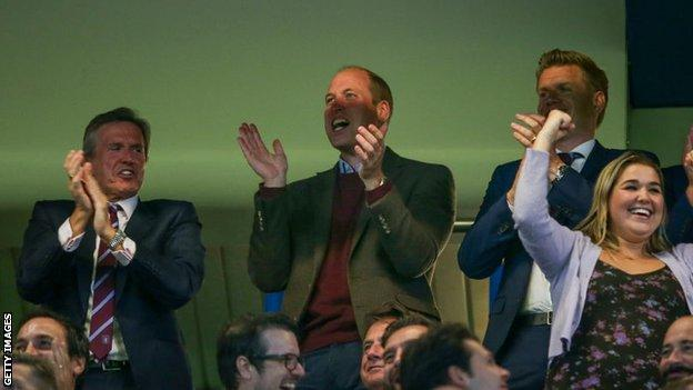 Prince William, Duke of Cambridge (centre), at Stamford Bridge