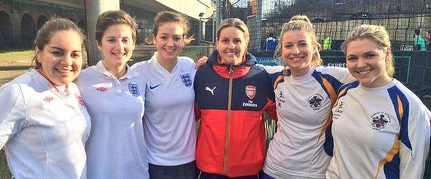 Arsenal star Kelly Smith with one of the FA People's Cup women's teams