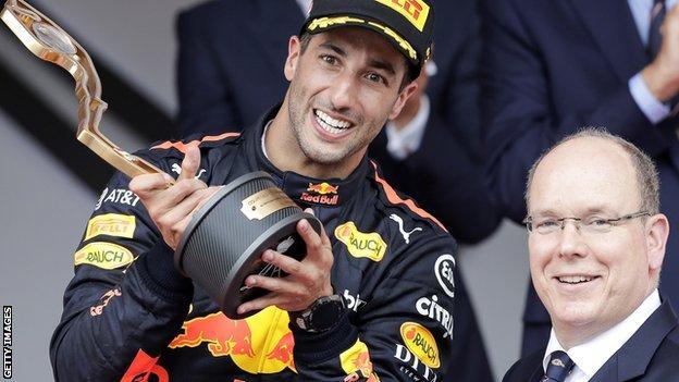 Daniel Ricciardo on the Monaco podium