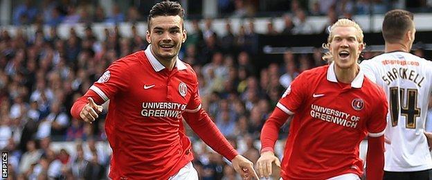 Tony Watt (left) celebrates his second-half goal against Derby