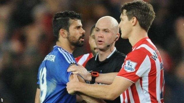 Diego Costa clashed with a number of Stoke players during the match