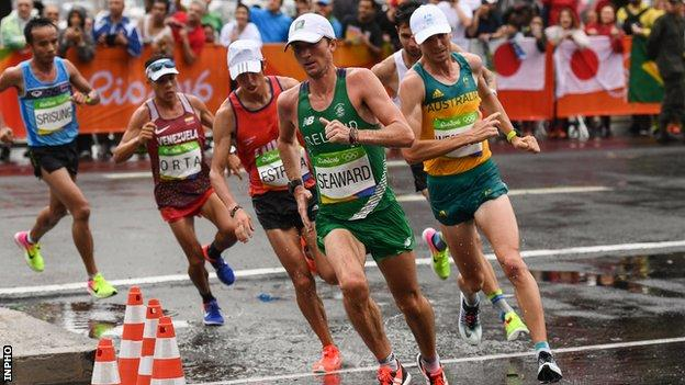 Kevin Seaward in action at the Olympic marathon in Rio
