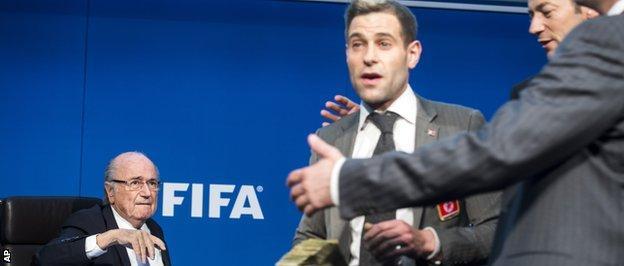 Sepp Blatter (left) and Simon Brodkin