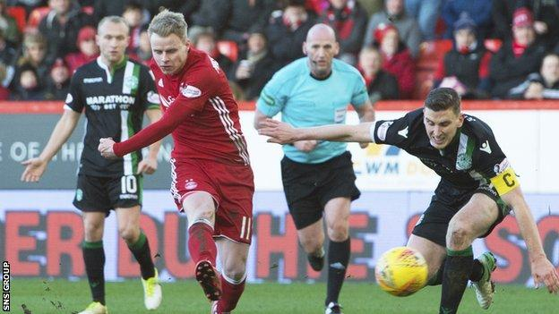 Gary Mackay-Steven curls in his third goal in a one-sided contest