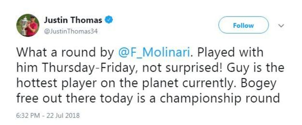 Justin Thomas congratulates Francesco Molinari