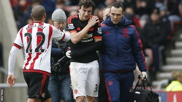 Matteo Darmian is helped off at Sunderland