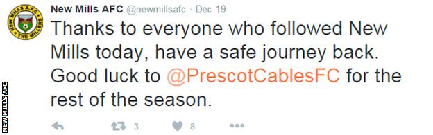 New Mills AFC Tweet