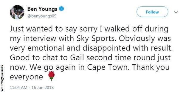 Ben Youngs apology tweet