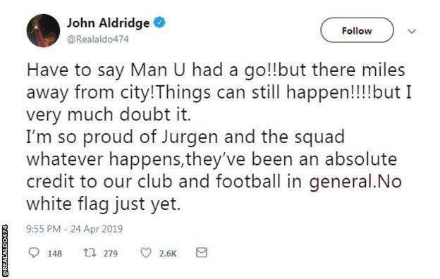 Former Liverpool forward John Aldridge on twitter