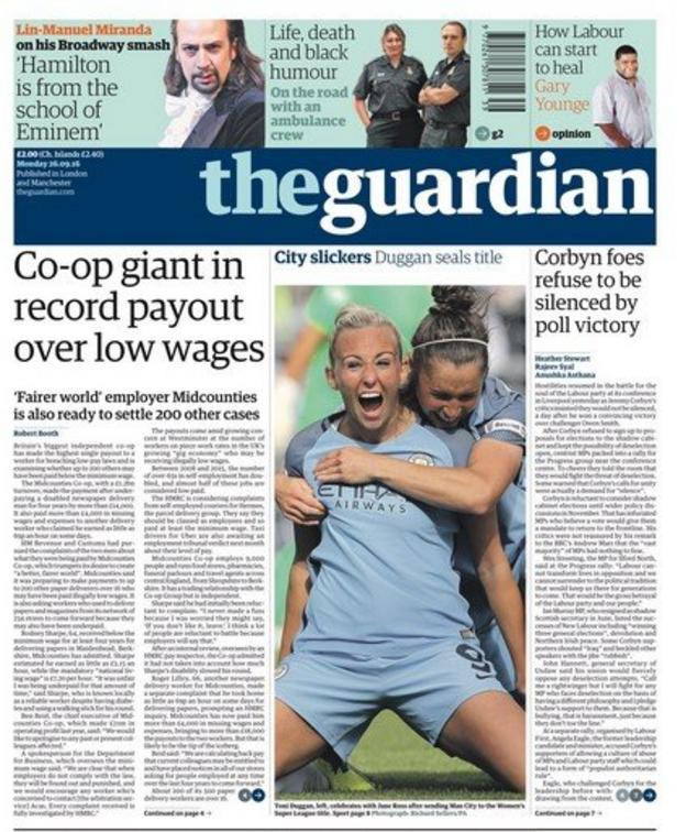 Manchester City on the front page of the Guardian newspaper