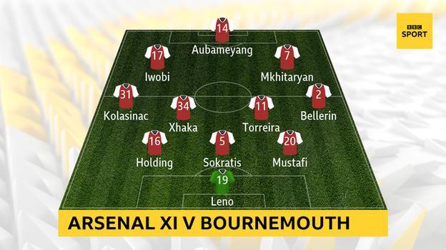 Arsenal XI v Bournemouth: Leno; Mustafi, Sokratis, Holding; Bellerin, Torreira, Xhaka, Kolasinac; Mkhitarayan, Aubameyang, Iwobi