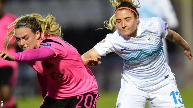 Kirsty Smith (left) in action for Scotland against Slovenia