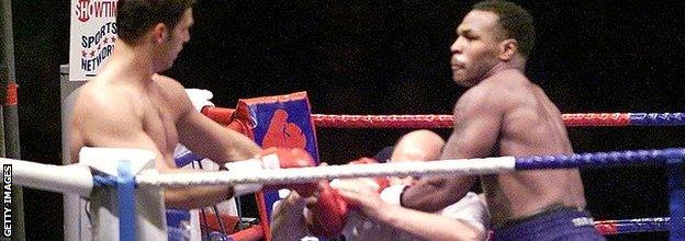 Tyson kept throwing punches after referee John Coyle had stopped the fight