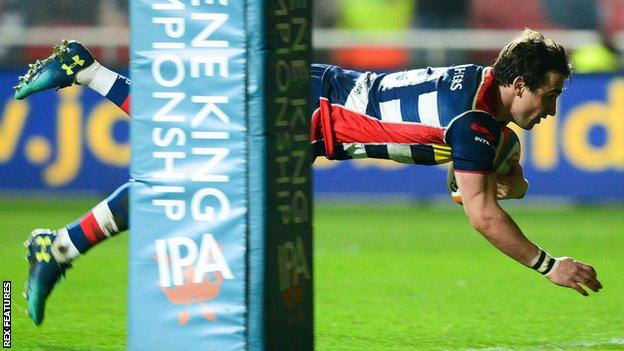 Rhodri Williams scores a try for Bristol