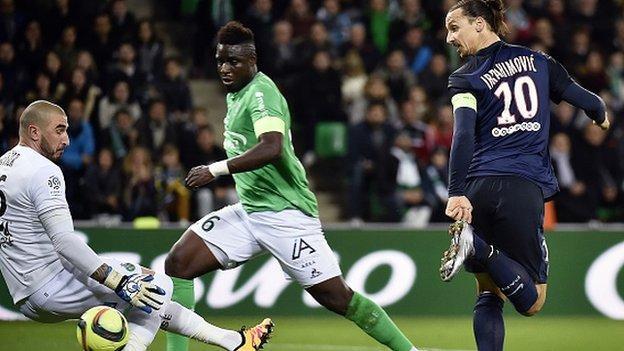 Paris St-Germain forward Zlatan Ibrahimovic in action against St Etienne