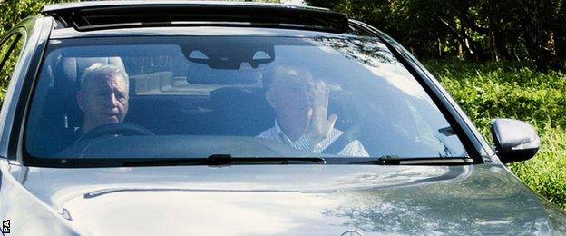 Van Gaal waved to a photographer as he left Carrington shortly before 17:00 BST on Monday
