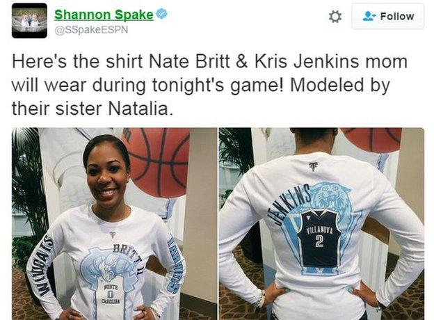 The special NCAA final shirt had Britt's 0 jersey and the North Carolina logo on the front and Jenkins' 2 jersey and a Villanova logo on the back