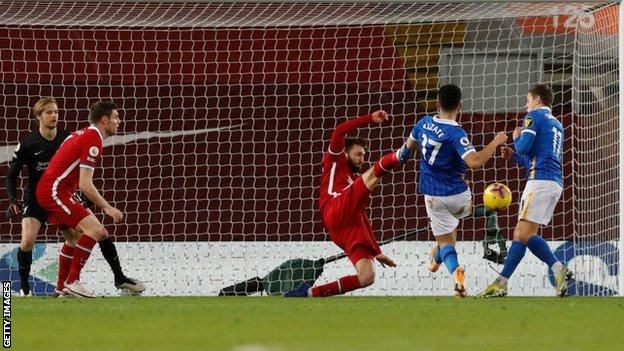 Steven Alzate scores Brighton's winner against Liverpool